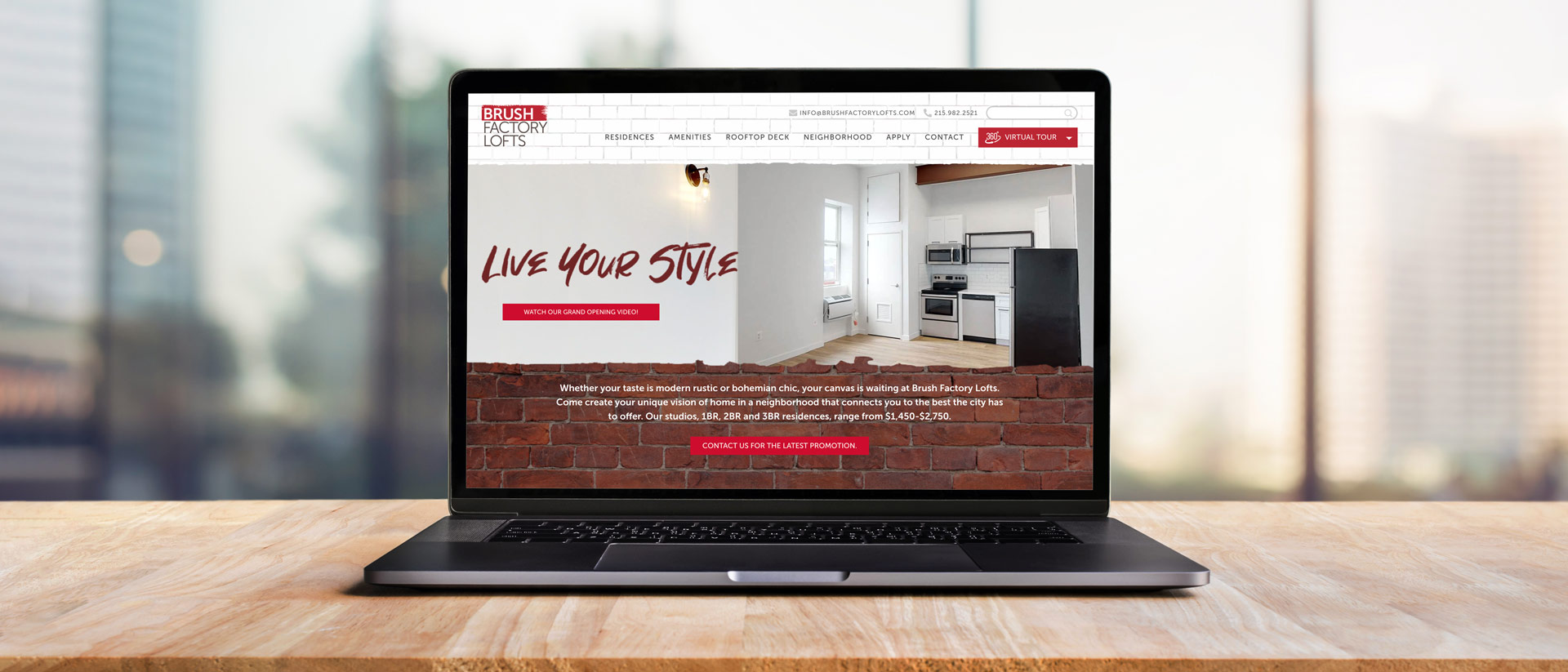 Digital Design and Development for Modern real Estate Brush Factory Lofts in Philly