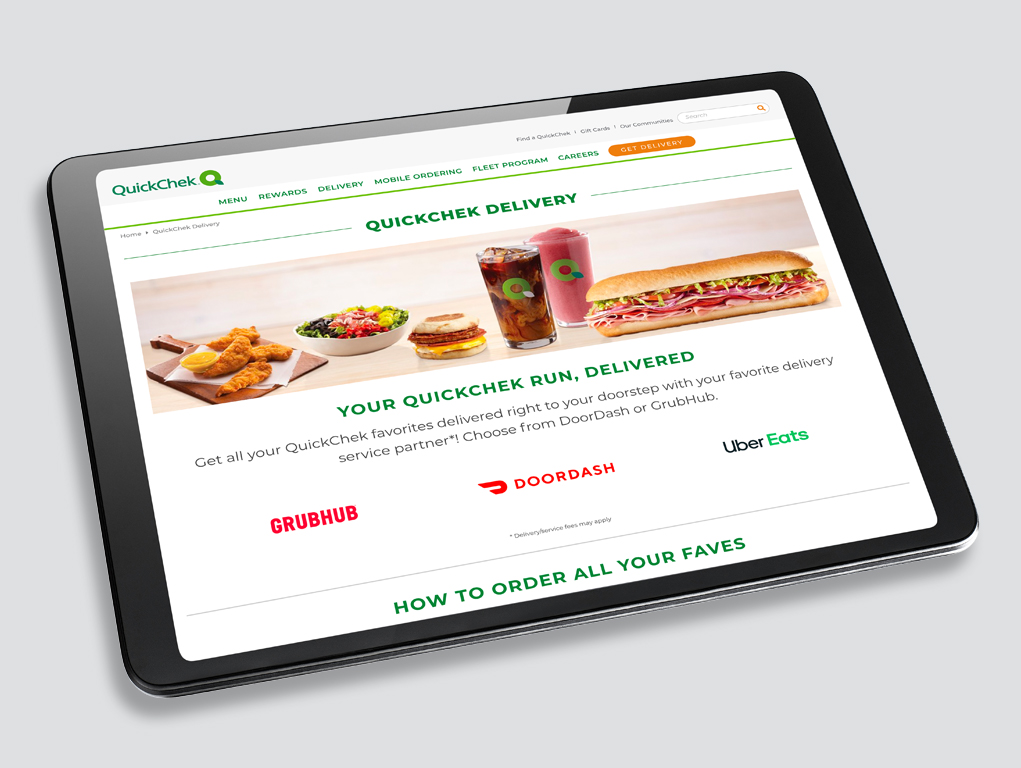 Digital Marketing for QuickChek Delivery - Landing Page